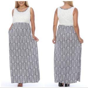 Dresses & Skirts - NEW PLUS White Gray Maxi Dress